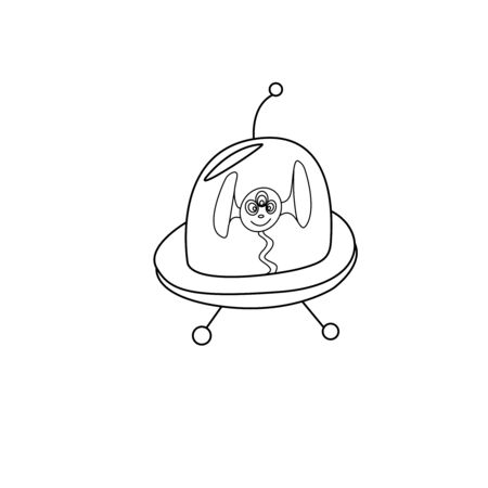 Cartoon cute funny Alien in Flying Saucer, UFO. Contour simple vector illustration, icon. Black and white Doodle.
