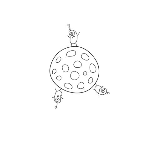 Cute funny aliens are standing on round moon, planet. Taking over the world. Emotions. Design element, icon on the theme of UFOs, space. Doodle vector outline illustration. Vettoriali
