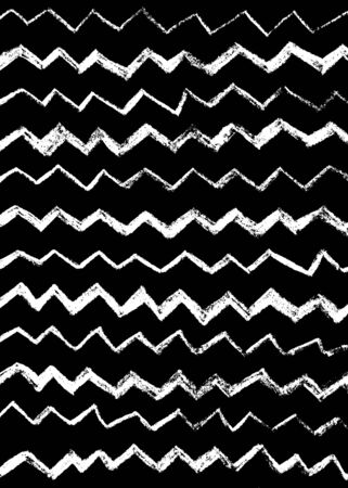 Abstract simple cool background with zigzag stripes, broken lines, waves, brush strokes. Hand drawn texture with chevron. Hipster graphic design. Black and white.