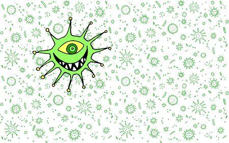 Cartoon virus character illustration. Character icon monster microbe pathogen. Background and texture. 免版税图像