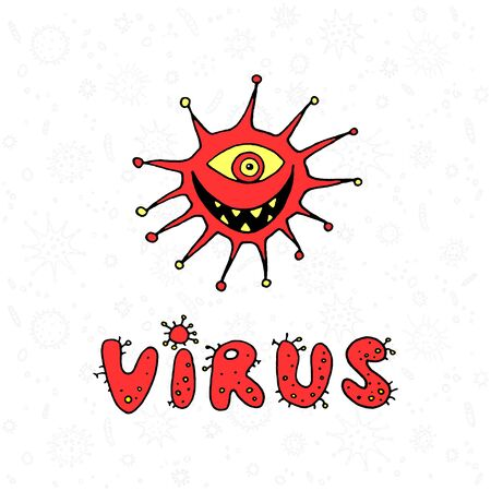 Cartoon virus character illustration on white background. Isolated character, icon, monster, microbe, pathogen.