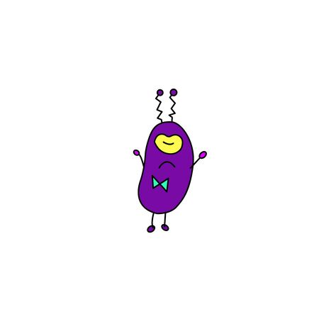 Cute funny alien. Design element, icon on the theme of UFO, space. Doodles vector illustration. Vettoriali