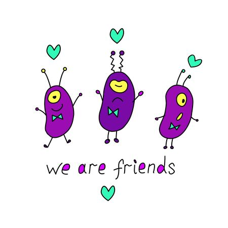 Cute funny aliens. Design element, card, background, icon on the theme of UFO, space. Doodles vector color illustration. We are friends - lettering.