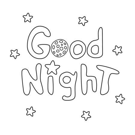 Good night. Vector card in cartoon style with outline handwritten lettering, stars, moon.