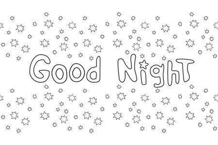 Good night. Vector card in cartoon style with outline handwritten lettering, stars. Vectores