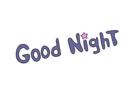 Good night. Vector card in cartoon style with pink purple blue handwritten lettering. The wish for sweet magical dreams. Phrase Isolated on white background. Vectores