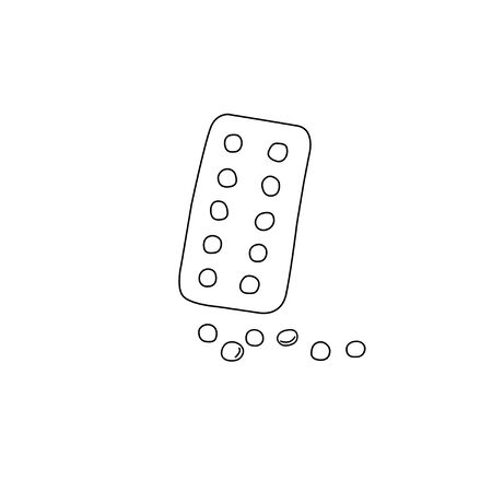 Simple Doodle medicine packing of pills, tablets, capsules isolated on white background. Vector illustration. Health and care. Design for clinics, hospitals, pharmacies, medical poster.
