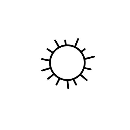 Sun icon. Symbol of sunny weather. Vector hand drawn illustration in the style of a doodle. Isolated on white background. Ilustracja