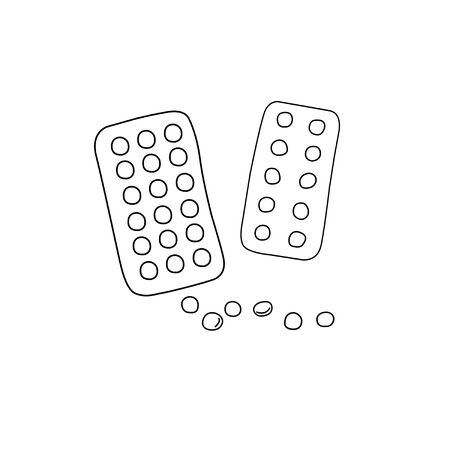 Simple Doodle medicine packing of pills, tablets, capsules isolated on white background. Vector EPS10 illustration. Health and care. Design for clinics, hospitals, pharmacies, medical poster.