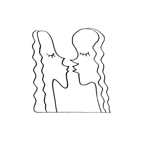 Abstract kiss. We are connected. Simple funny illustration. Line art, doodle, vector. For ad poster or card print, t-shirt, wedding, Valentines Day, february 14