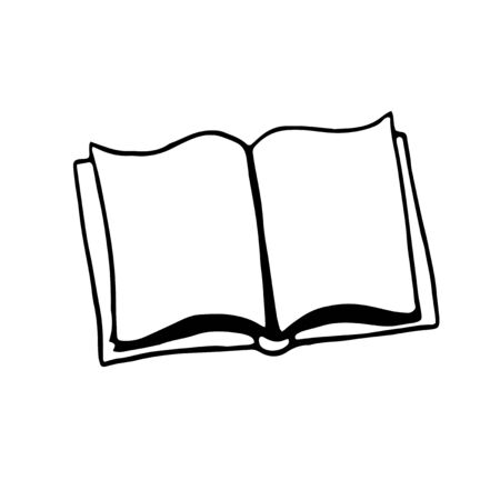 Book icon. Simple outline drawing of opened book, doodle. Vector hand drawn illustration in black and white. Isolated on white background.