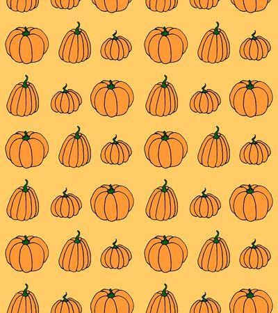 Vector cartoon seamless pattern with pumpkin. Halloween background.