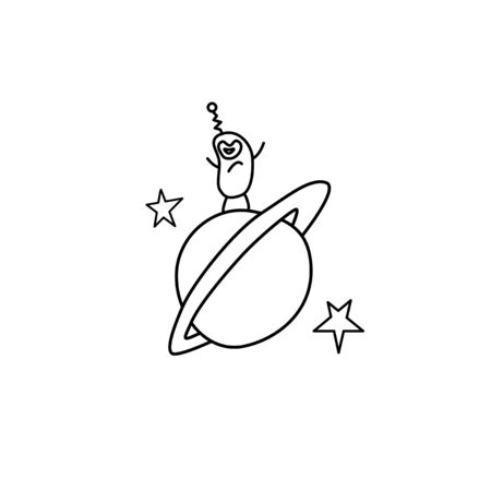 Cute funny aliens are standing on round moon, planet. Taking over the world. Emotions. Design element, icon on the theme of UFOs, space. Doodle vector outline illustration. Vectores