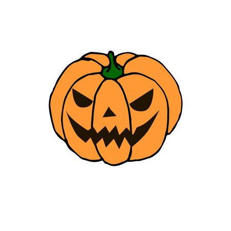 Simple smiling Halloween pumpkin isolated on white background. Jack Lantern. Vector hand drawn illustration in cartoon style.