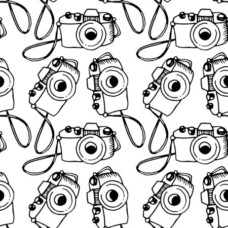 Seamless outline pattern with photo camera. Vector illustration for print, wrapping paper, website, blog and design. Backgrounds and textures on the subject of photography and journalism. Vetores