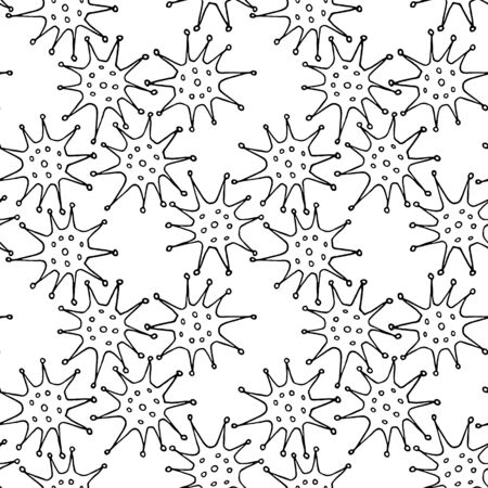 Net, a hedge of algae plants flowers sea urchins prickles pollen. Seamless pattern, background, texture, Wallpaper. Outline Doodle vector. 向量圖像