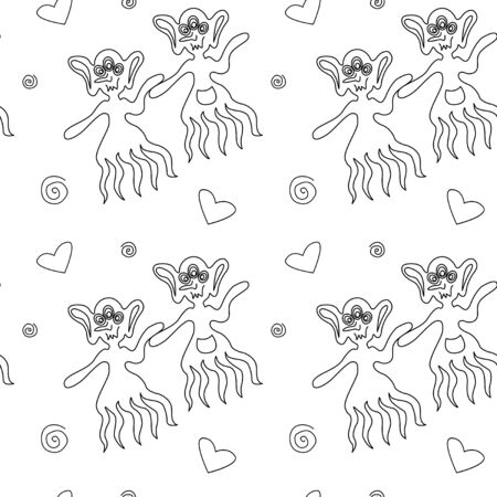 Vector color seamless childish pattern with cute outline monsters aliens, space doodles, lettering. Baby background perfect for fabric, wrapping, wallpaper, textile, apparel, cover, coloring book.