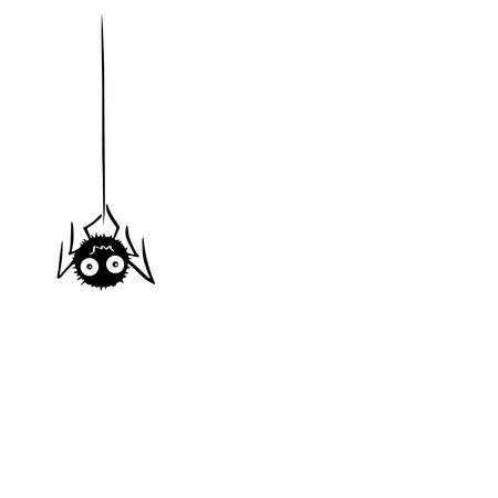 Cute spider on the web. Hand drawn. Isolated on white background.