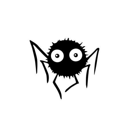 Cute spiders. Hand drawn. Isolated on white background. Halloween illustration. Ilustração