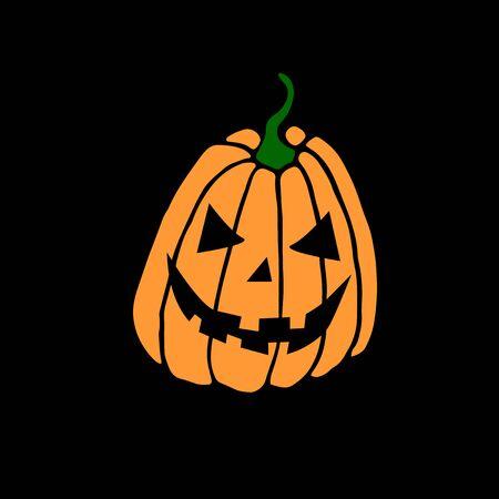 Simple smiling Halloween pumpkin isolated on Black background. Jack Lantern. Vector hand drawn illustration in cartoon style. Vettoriali