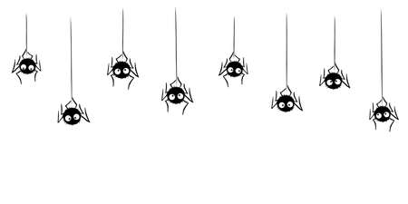 Cute black spiders dangle and swing on the web. Hand drawn, isolated, seamless pattern of border. Halloween vector background and frame.