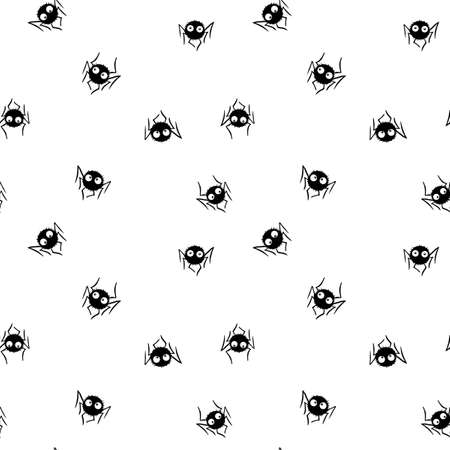 Seamless pattern of cute little spiders with eyes.
