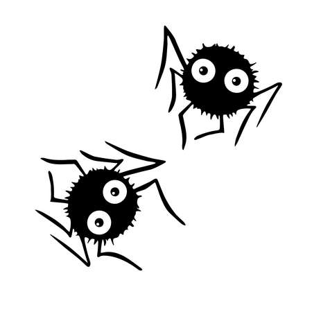 Cute vector spiders. Hand drawn. Isolated on white background. Halloween illustration.