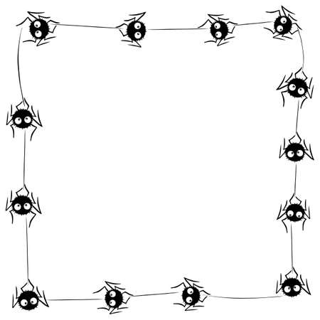Square Frame of cute little spiders with eyes on web. Halloween vector background. Black and white, isolated, hand drawn illustration.