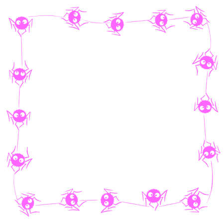 Square Frame of cute little spiders with eyes on web. Halloween vector background. Pink and white, isolated, hand drawn illustration.