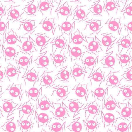 Seamless pattern of cute little spiders with eyes. Halloween vector backgrounds and textures. Isolated, hand drawn illustration. Ilustração