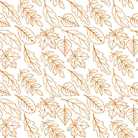 Seamless pattern falling leaves. Vector autumn texture isolated on white background, hand drawn in sketch style, orange outline. Concept of forest, leaf fall, nature.
