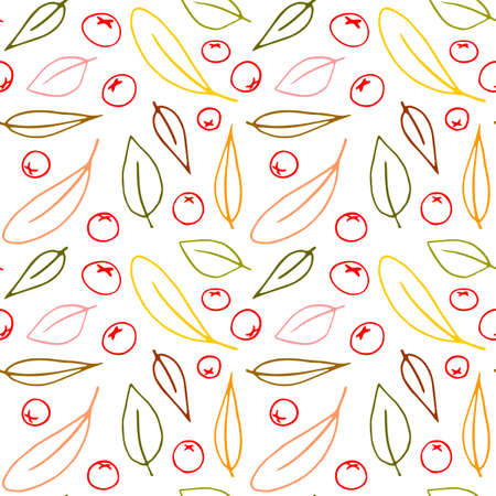 Seamless pattern contour leaves and small berries of the mountain ash isolated on white background, color outline in doodle sketch style. Simple vector texture for fabric, invitations, home textiles.