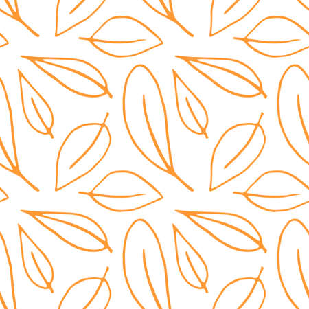 Seamless pattern of contoured leaves isolated on white background, orange outline in sketch style. Simple vector texture for fabric, invitations, home textiles.
