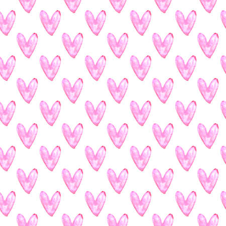 Seamless pattern with watercolor hearts. Romantic love hand drawn backgrounds texture. For greeting cards, wrapping paper, wedding, birthday, fabric, textile, Valentines Day, mothers Day, easter.