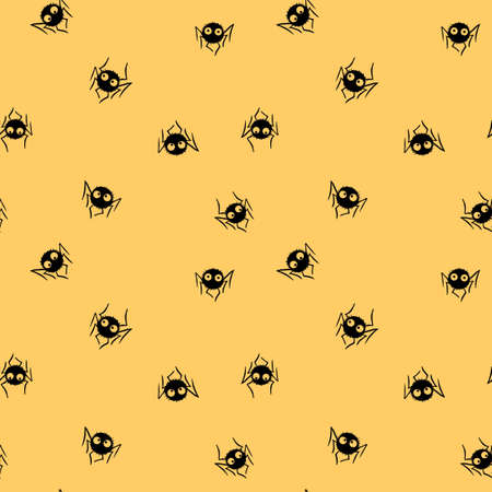 Seamless pattern of cute little spiders with eyes. Halloween vector backgrounds and textures. Isolated, hand drawn illustration.