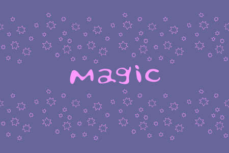Magic. Vector card in cartoon style with pink handwritten lettering and stars on blue purple background.