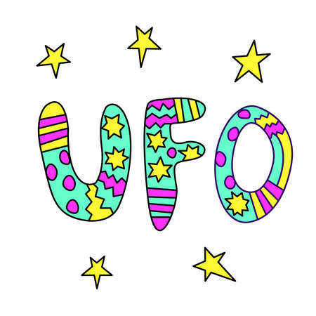 UFO- handwritten calligraphy vector illustration. Bright color lettering, design element, icon on the theme of space.