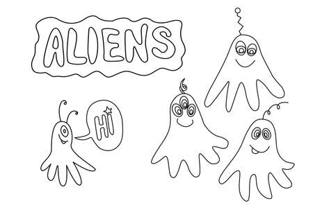 Set of Cute funny aliens. Design element, icon on the theme of UFO, space. Doodles vector illustration.