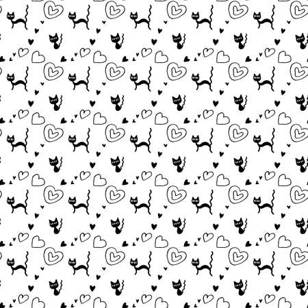 Cute seamless pattern with hearts and cats. Hand drawn Romantic texture for backgrounds, wrapping paper, packaging, greeting cards, prints, covers, fabric, textile, birthday, Valentine's Day.