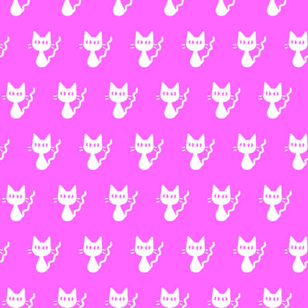 Cute seamless pattern with cats. Texture for backgrounds, wrapping paper, packaging, greeting cards, prints, fabric textile.