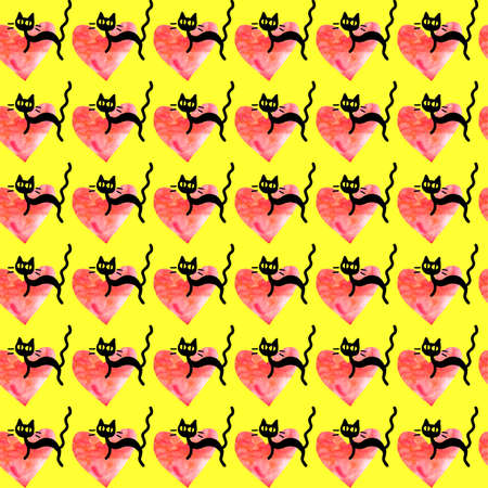 Cute seamless pattern with hearts and cats. Romantic texture for backgrounds, wrapping paper, packaging, greeting cards, prints, covers, fabric, textile, birthday, Valentine's Day.
