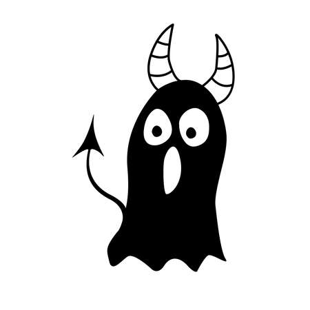 Screaming monster silhouette with horns and tail. Black Funny Cute cartoon baby character. Happy Halloween. Flat design. isolated on white background. Vector. Ilustração