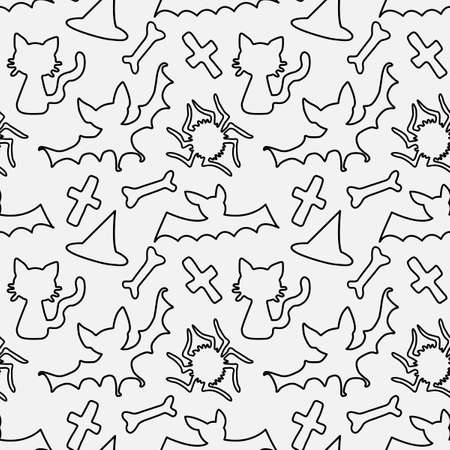 Happy Halloween. Seamless pattern of contoured doodles and holiday-themed icons. Black outline of a bat, spider, bone, cross, isolated. Vector backgrounds and textures.