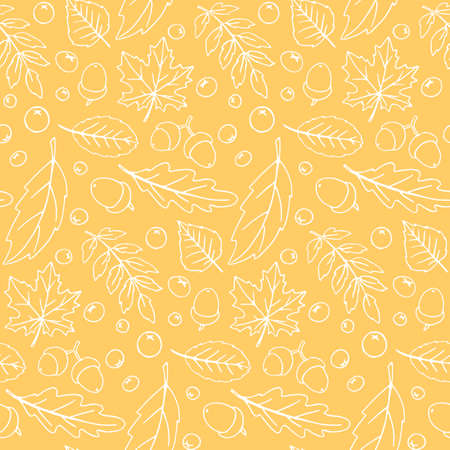 Seamless pattern falling leaves, acorns, berries. Vector autumn texture isolated on orange background, hand drawn in sketch style. Concept of forest, leaf fall, nature, thanksgiving.