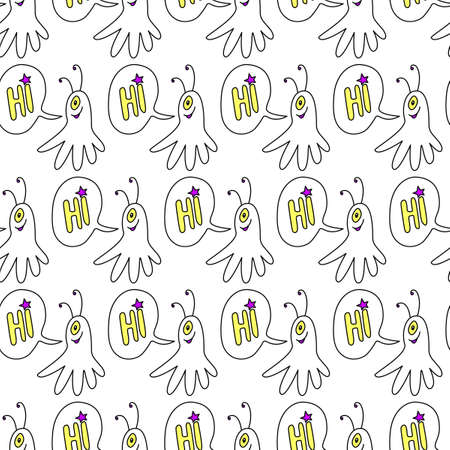 Vector seamless childish pattern with cute outline monsters aliens, space doodles. Background and texture for fabric, wrapping, wallpaper, textile, apparel, cover, coloring book. Illustration
