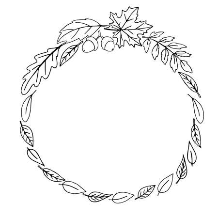 Wreath of autumn leaves. Doodle freehand illustration. Round frame. Black outline on a white background.