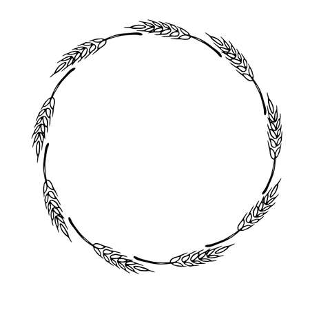 Frame made of wheat or rye ears. Vector autumn wreath hand drawn in Doodle style, black outline isolated on white background. Vektoros illusztráció