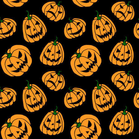 Seamless pattern with pumpkins, Jack lanterns. Vector backgrounds and textures for Halloween. Hand drawn illustration in flat doodle style, isolated.