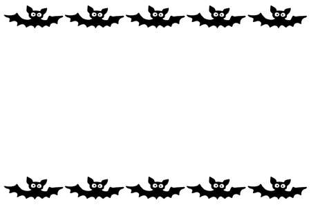 Background, frame for Halloween. Horizontal top and bottom edging, border of festive elements and characters - bats. Background for greeting card, invitation, party poster, banner.