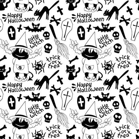 Happy Halloween-seamless pattern with set of icons-witch, broom, bones, black cat, spider, bat and inscriptions. Textured background for greeting card, invitation, party poster, banner.